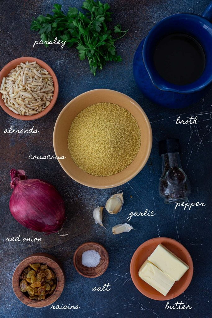 Ingredients to make couscous pilaf.