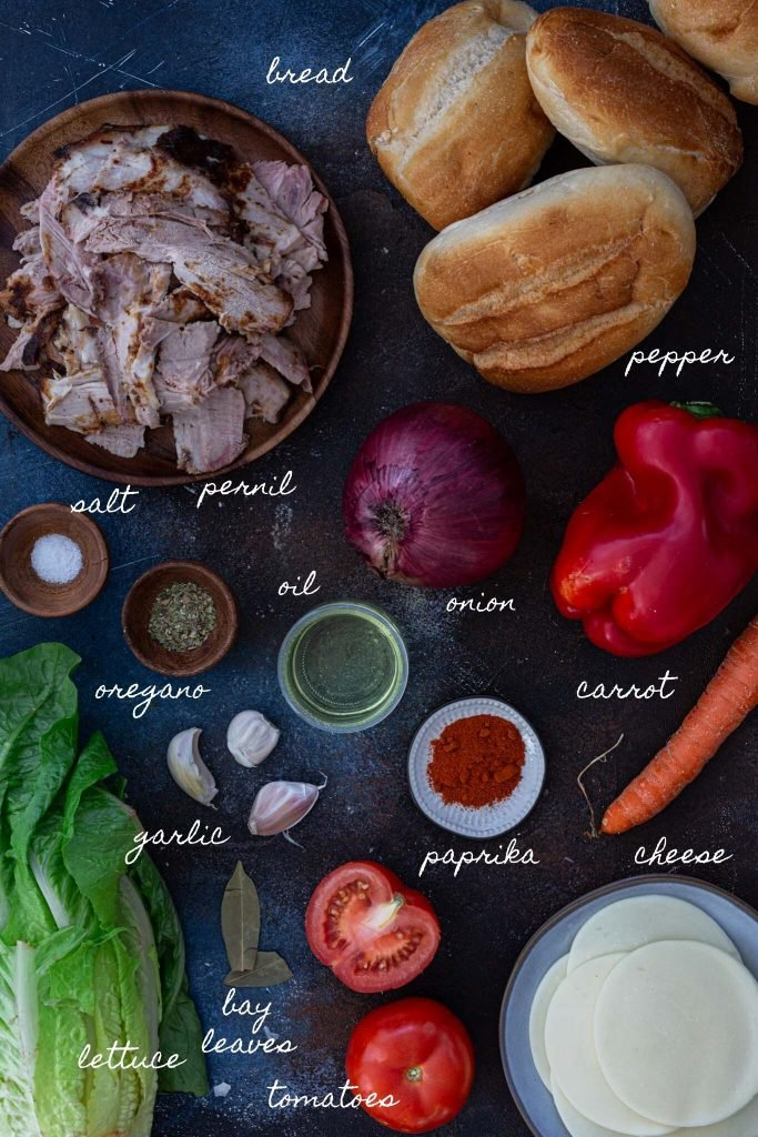 Ingredients for leftover pork sandwich.