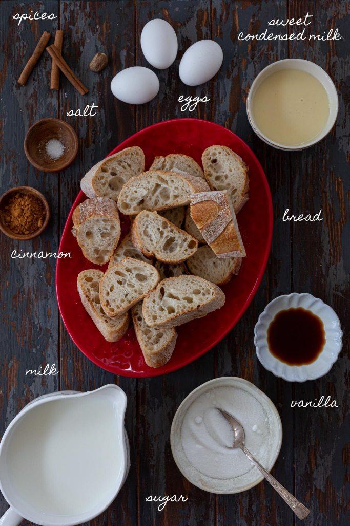 Ingredients to make Brazilian French Toast (Rabanada).