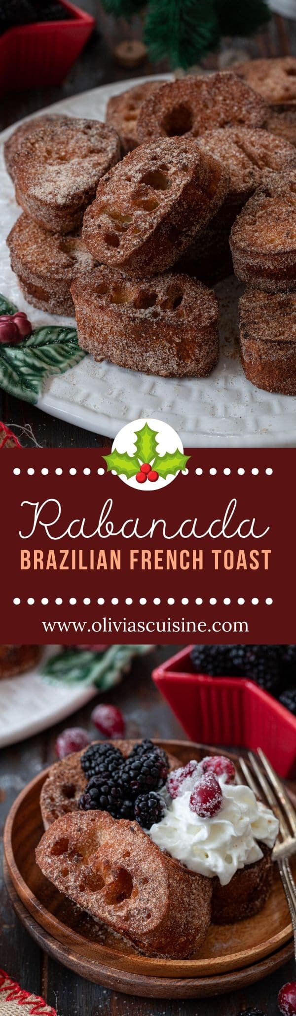 Rabanada (Brazilian French Toast) | www.oliviascuisine.com | Christmas morning means a platter of Rabanada in Brazil. But this unique French toast recipe is so delicious that you'll want to make it all year long! (Follow @oliviascuisine for more delicious recipes.) #rabanada #frenchtoast #christmas #breakfast #brunch #brazilianfood