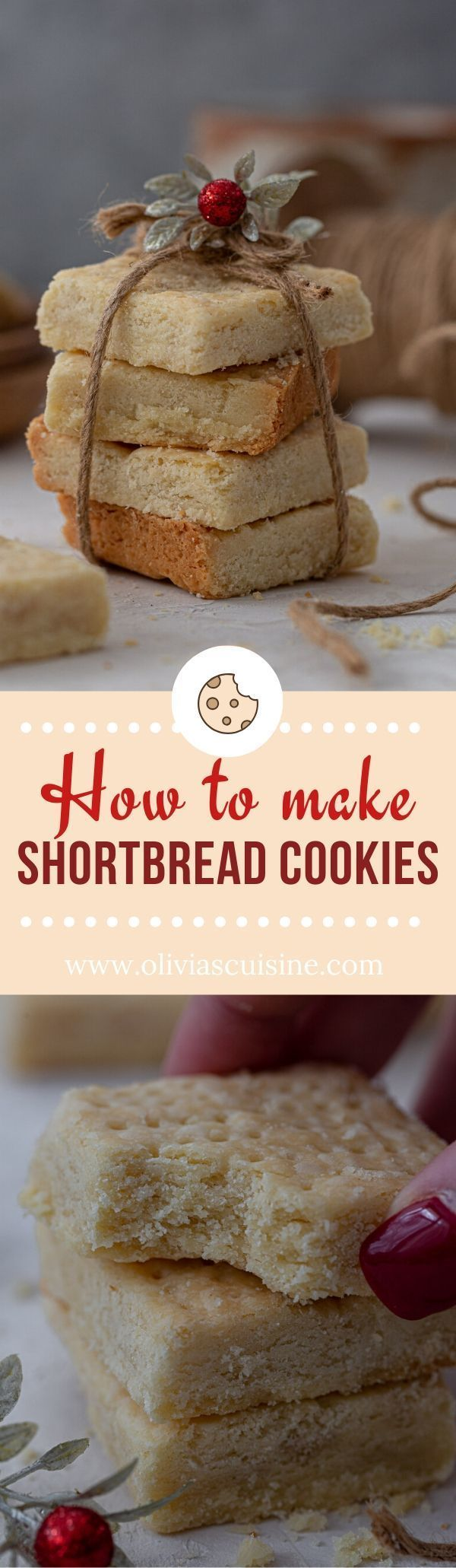 How to Make Shortbread Cookies | www.oliviascuisine.com | Melt in your mouth, buttery Scottish-style shortbread cookies are delicious year round, but especially great during the holidays! Enjoy the basic version or customize with add-ins, toppings or by dipping them in chocolate. (Follow @oliviascuisine for more delicious recipes!) #shortbread #cookies #baking #easy