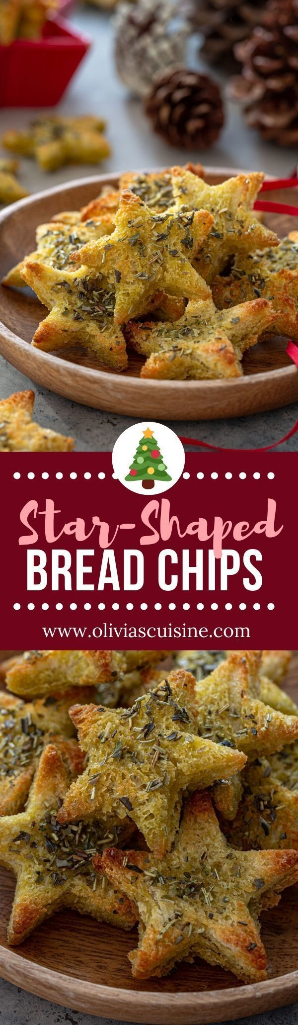 Star Bread Chips | www.oliviascuisine.com | Make your holiday appetizer table extra festive with these cute star bread chips! Insanely easy to make, they will be a great addition to any cheeseboard or a fun base for canapés. (Follow @oliviascuisine for more delicious recipes!) #bread #crackers #chips #crisps #leftoverbread #stalebread #christmas #appetizers