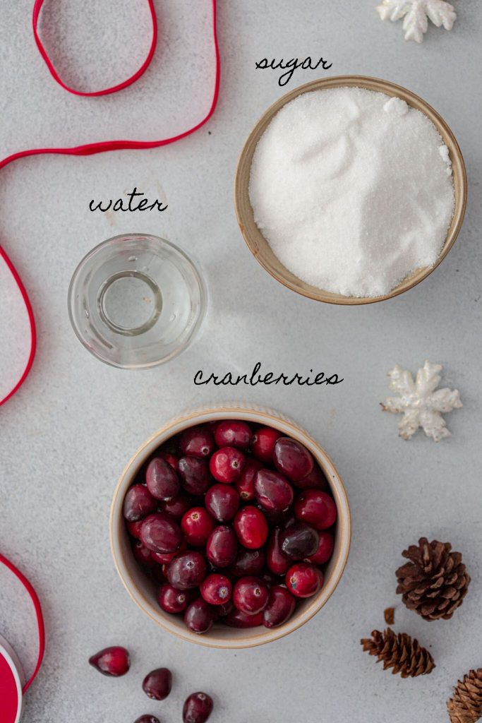 Ingredients for sugared cranberries.