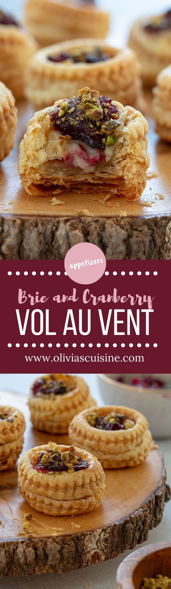 Brie and Cranberry Vol au Vent | www.oliviascuisine.com | Vol au vent might sound fancy, but is a simple and quick appetizer that is perfect for last minute entertaining! Also a great way to use all that leftover cranberry sauce from Thanksgiving. (Follow @oliviascuisine for more delicious recipes!) #volauvent #cranberry #appetizers #partyfood #puffpastry #christmas