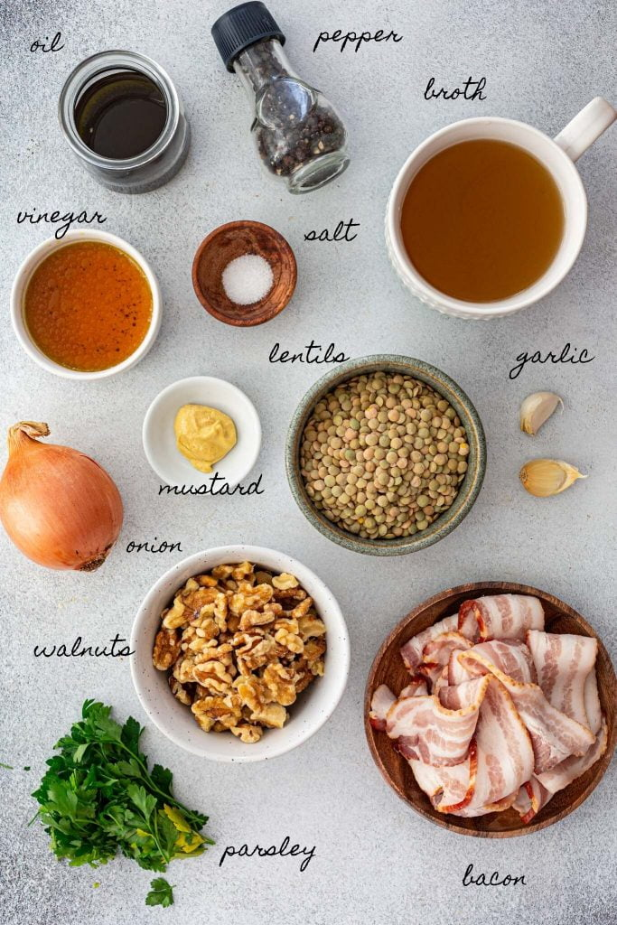 Ingredients to make warm lentil salad.