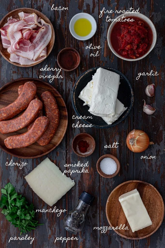Ingredients for cheese dip with chorizo.