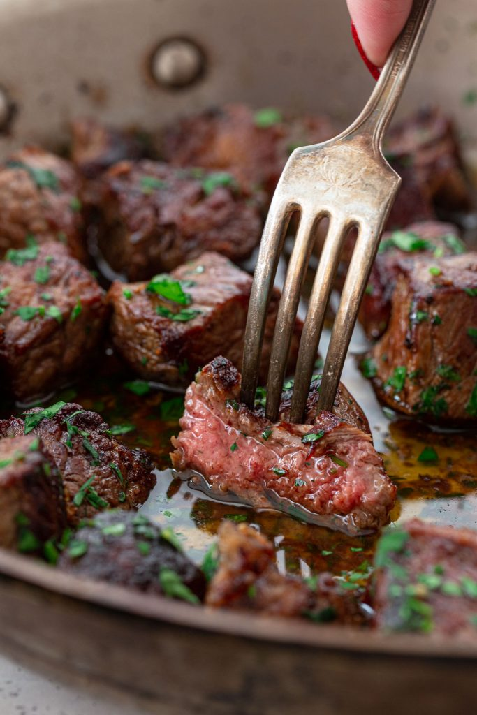 Juicy garlic butter steak bites