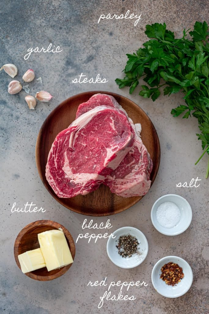 Ingredients to make garlic butter steak bites