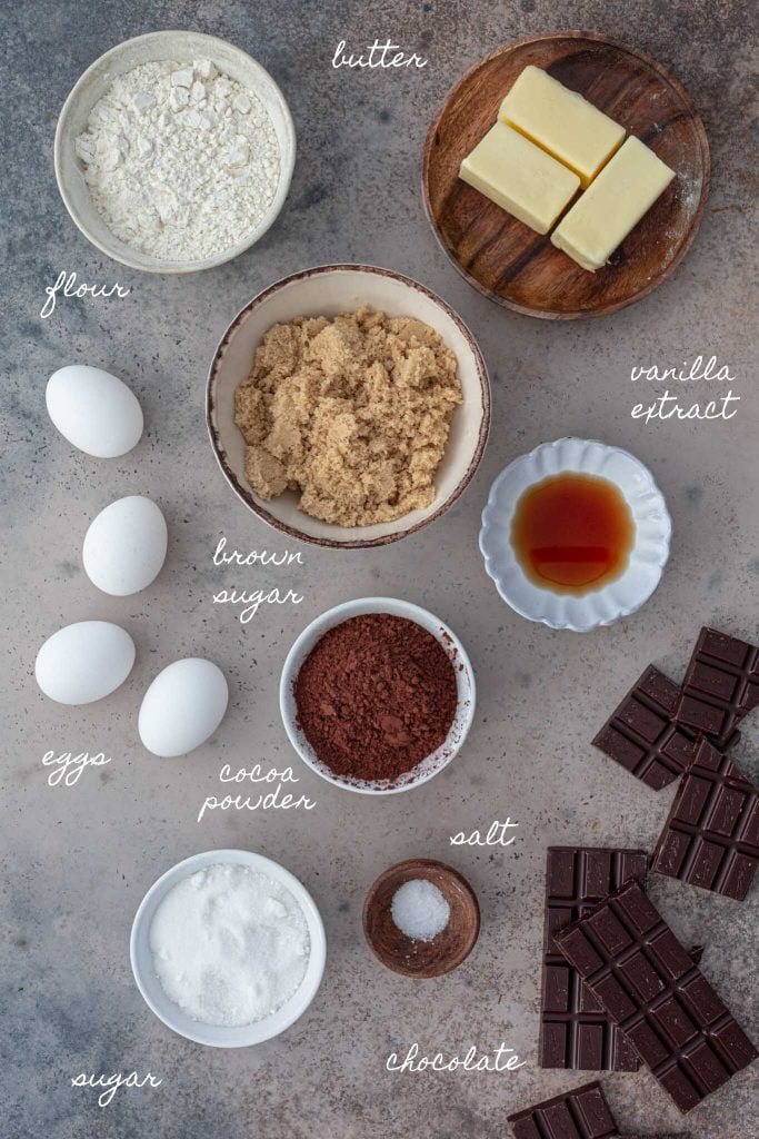 Ingredients for the best brownies.