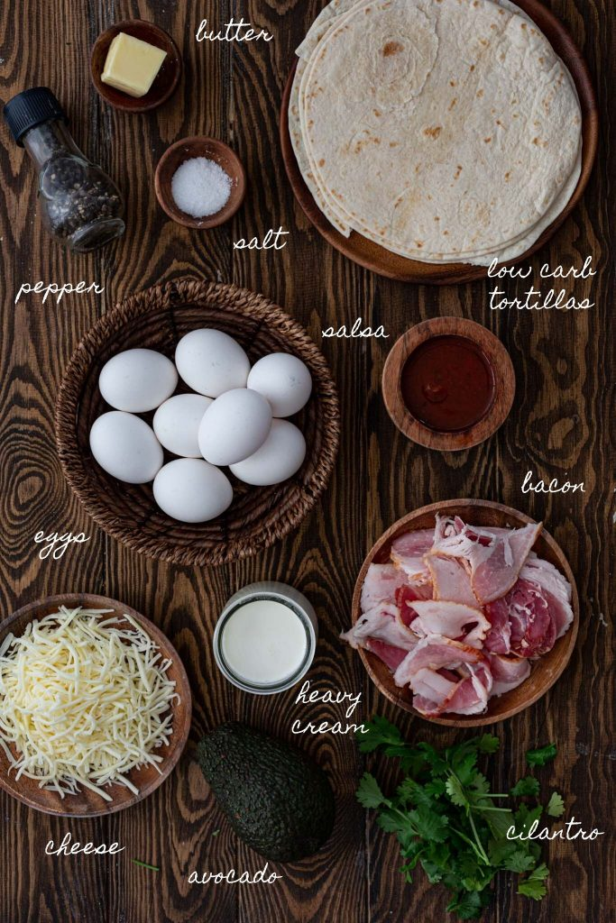 Ingredients to make low carb breakfast tacos.