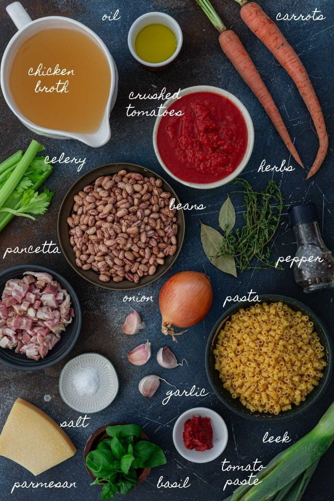 Ingredients for pasta and beans soup.