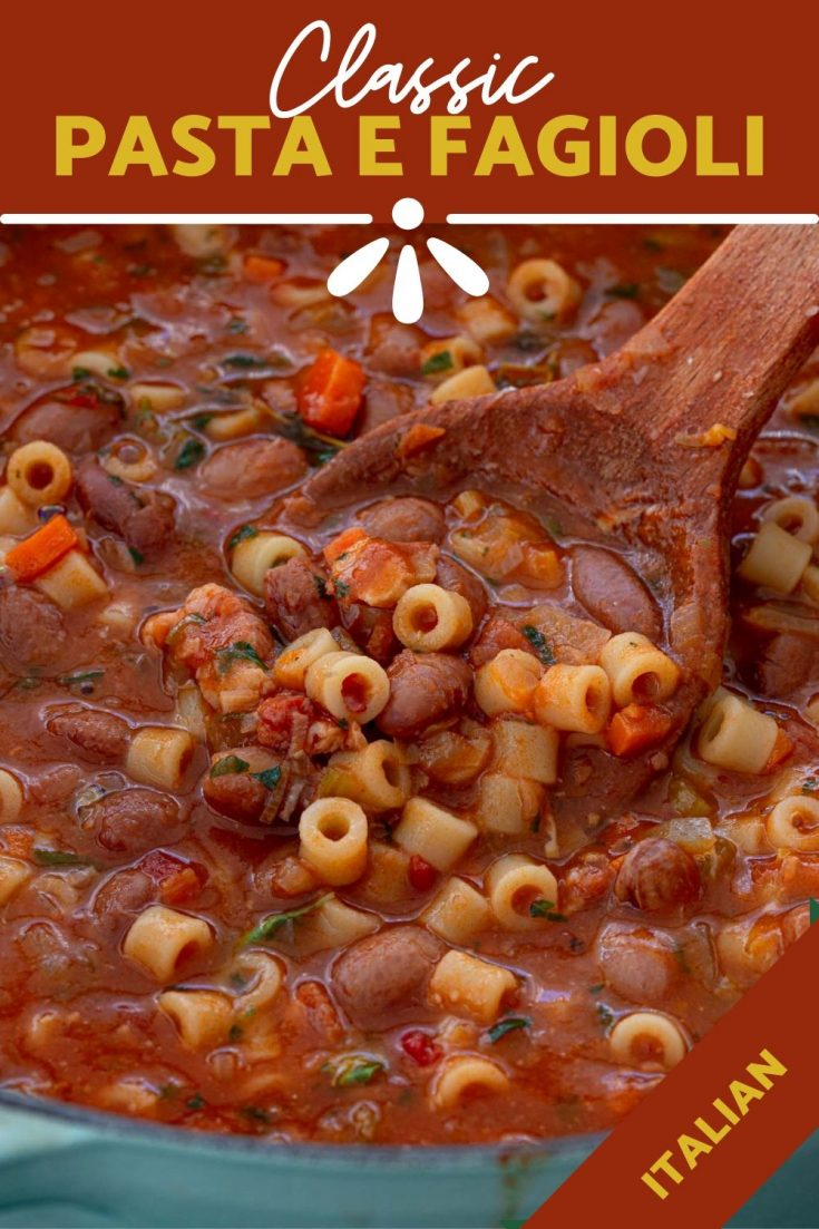 Pasta e Fagioli Soup | www.oliviascuisine.com | A classic Italian soup, Pasta e Fagioli is a satisfying dish that will warm your body and your soul! Pasta, beans, pancetta and veggies are embraced by a flavorful tomato broth, making this soup a meal in itself.