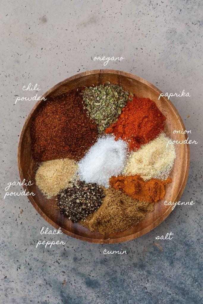 Ingredients to make taco seasoning.