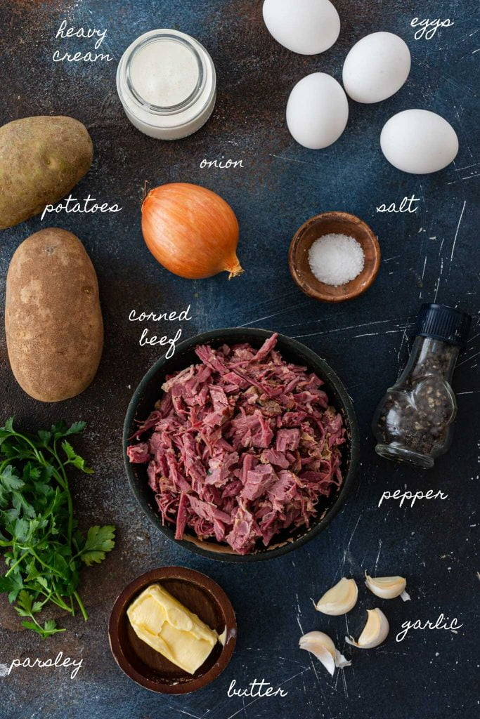 Ingredients for corned beef hash recipe.