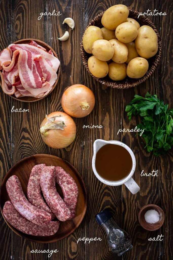 Ingredients to make Dublin Coddle.