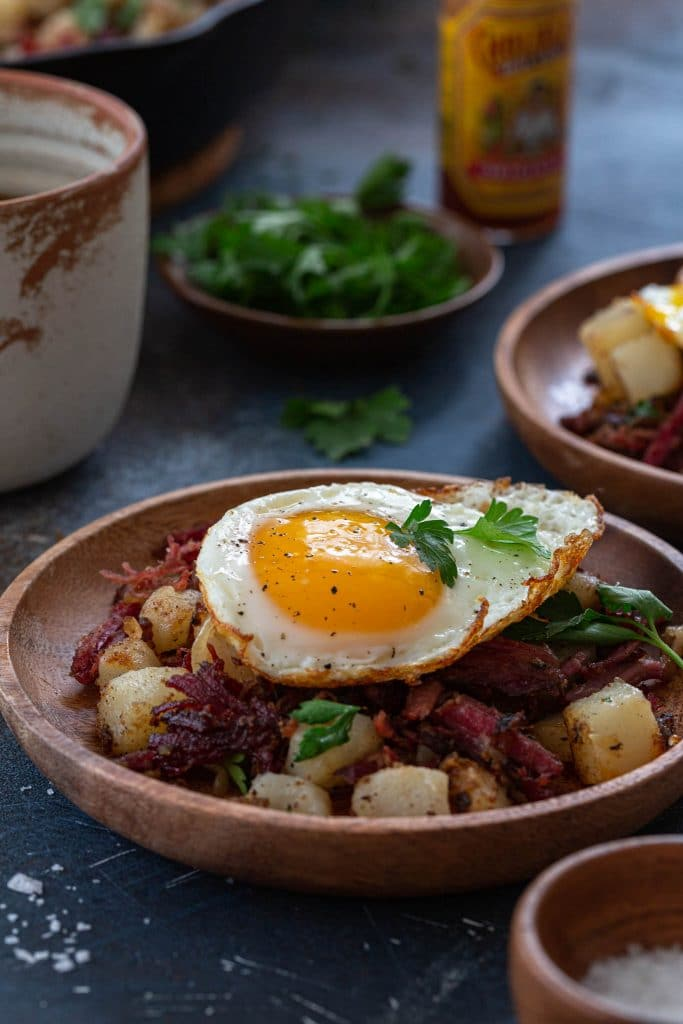A serving of breakfast hash.