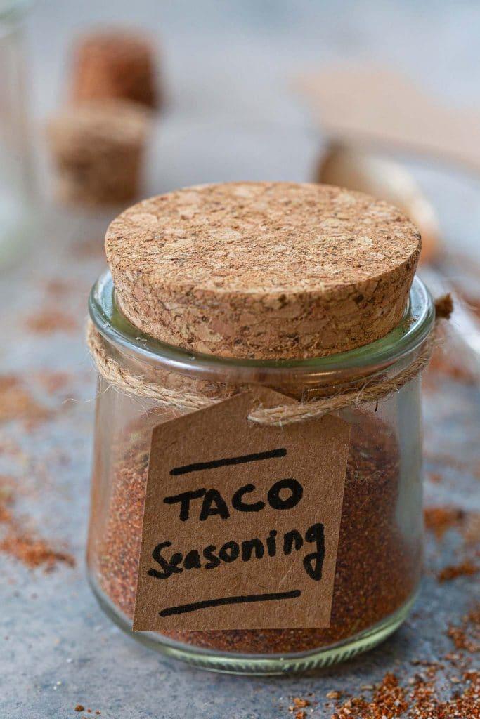 A jar of homemade taco seasoning.