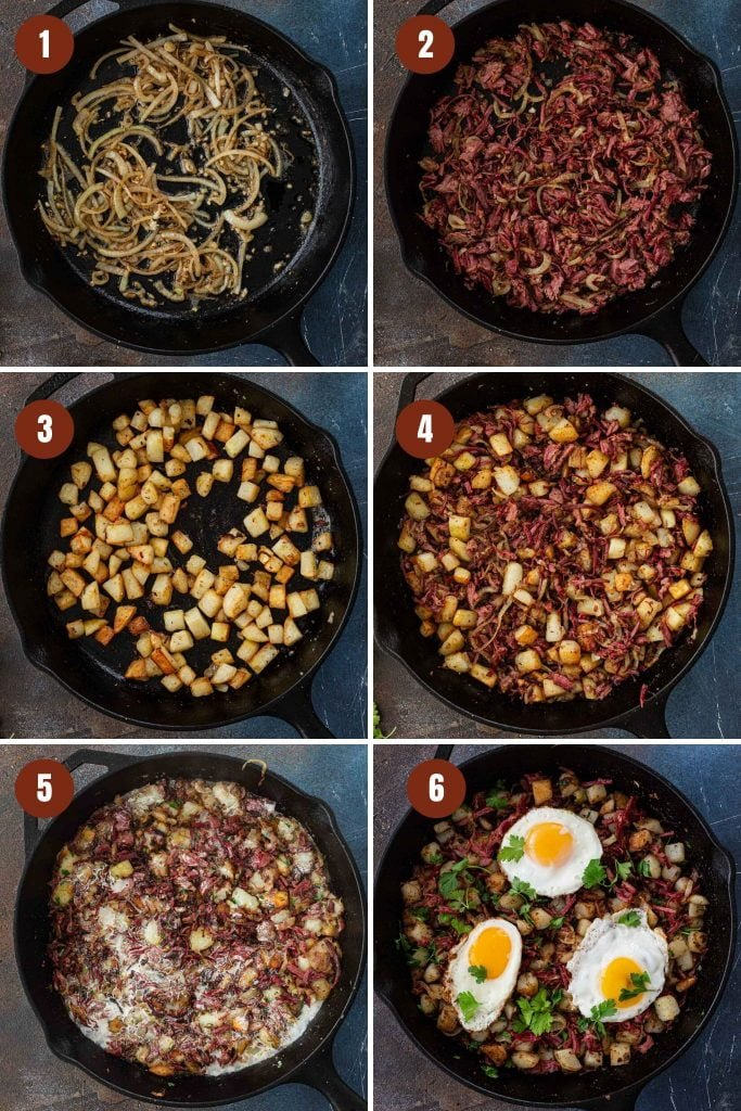 Step by step instructions on how to make corned beef hash recipe.