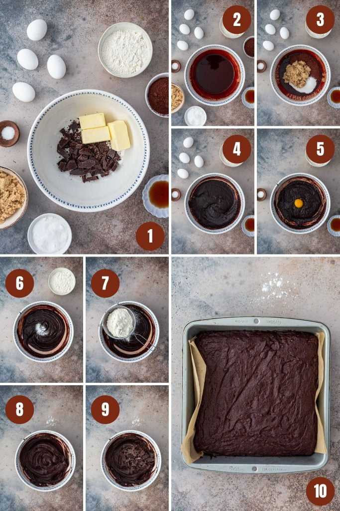Step by step instructions on how to make fudgy brownies.