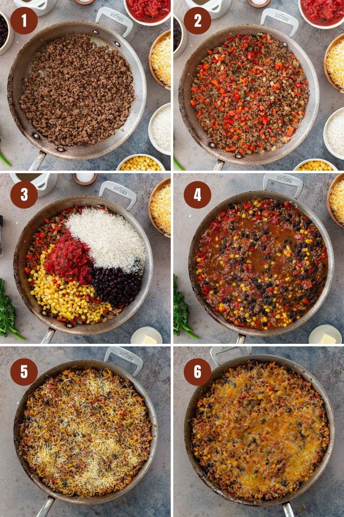 Step by step instructions on how to make Mexican Beef and Rice Casserole in one pan.