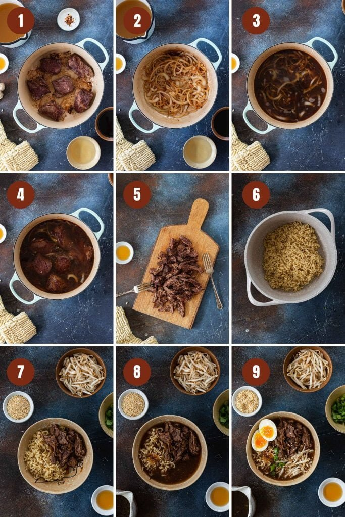 Step by step instructions on how to make short rib ramen soup.