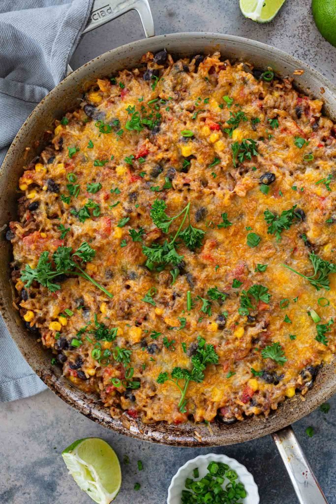Cheesy One Pan Mexican Beef and Rice Casserole.