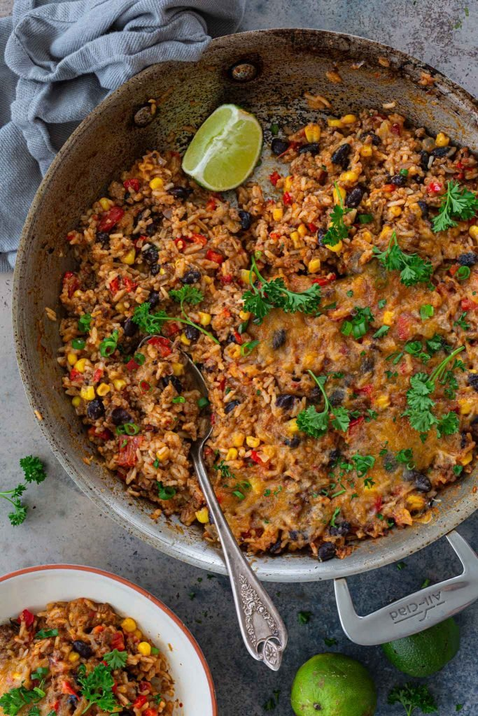 Rice with ground beef, beans, tomatoes and corn.