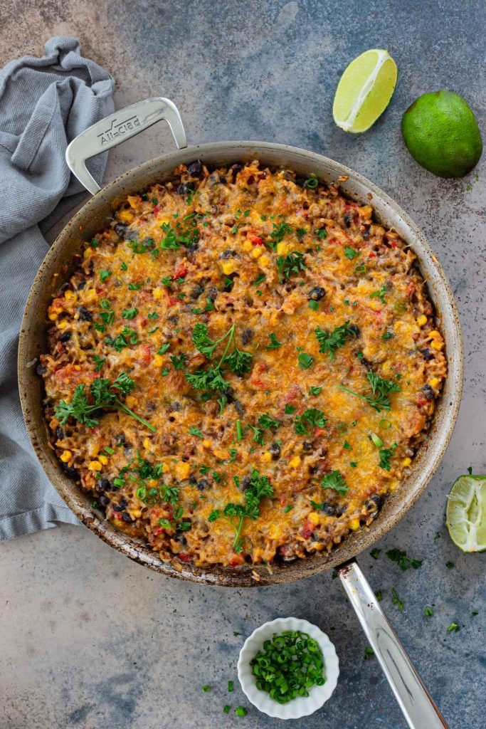 Cheesy beef and rice casserole, Mexican-inspired.