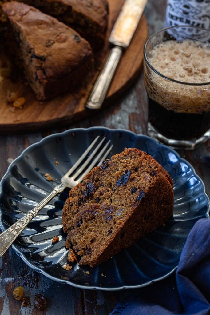 A slice of Irish Porter Cake.