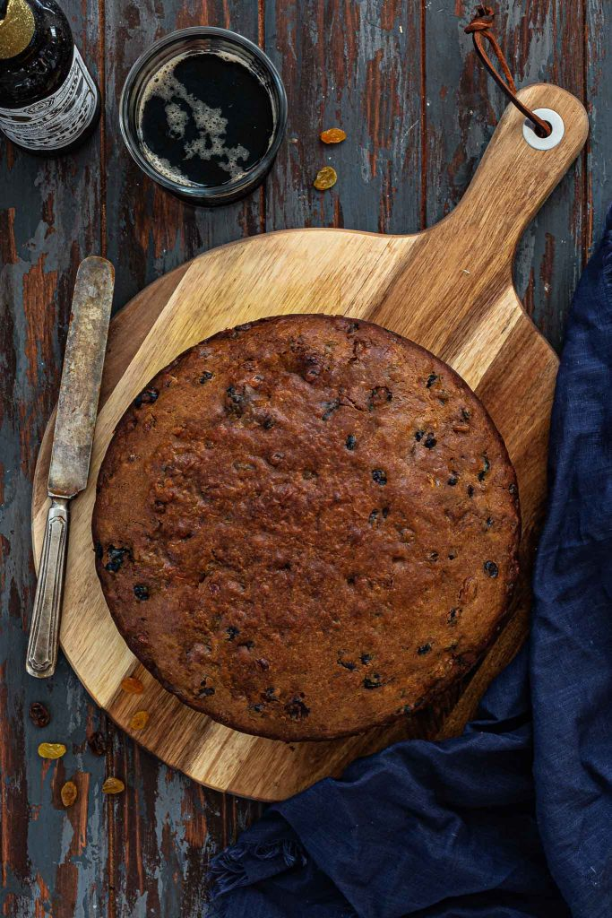 Fruit cake made with porter ale.