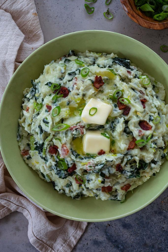 Colcannon potatoes with kale and bacon.