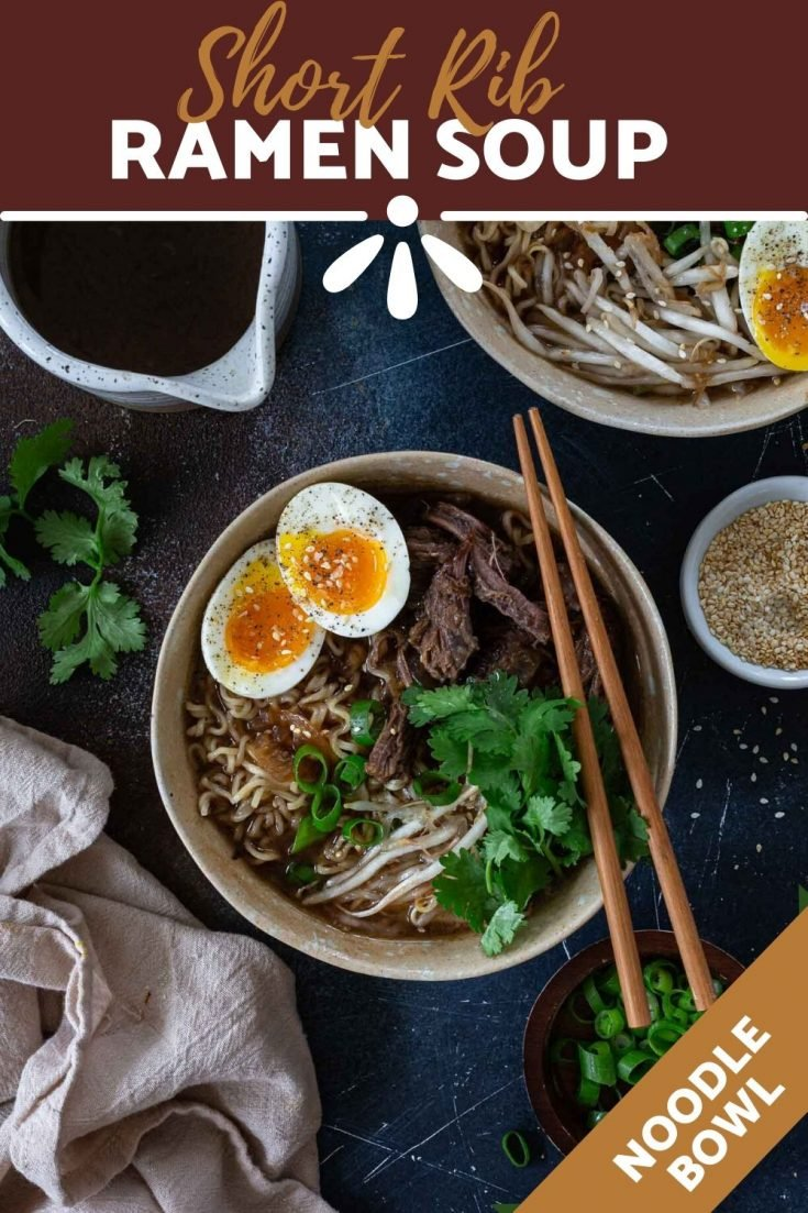 Short Rib Ramen Soup | www.oliviascuisine.com | Can you think of anything better than a bowl of Short Rib Ramen Soup when you're not feeling your best? Featuring tender short rib chunks, ramen noodles and a rich broth, it is sure to warm your body, heart and soul! (Recipe and food photography by @oliviascuisine.) #ramen #shortribs #beef #asian #japanese #noodles