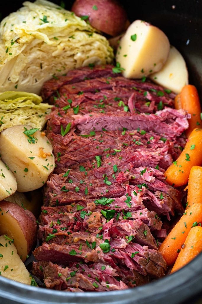 Slow cooker corned beef and cabbage.