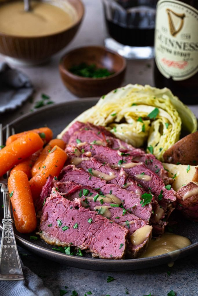 Slow cooker corned beef and cabbage with root veggies.