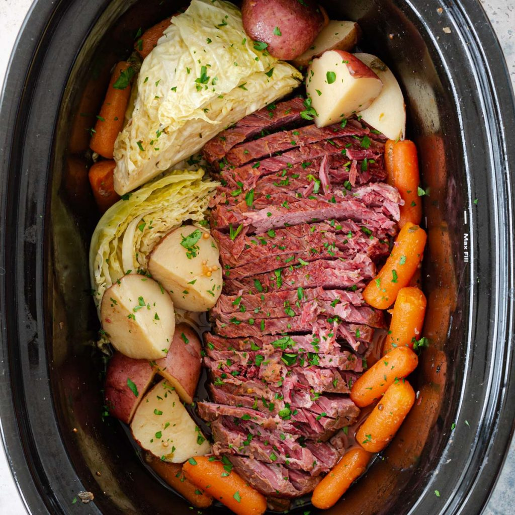 Cooking beef in the crockpot.