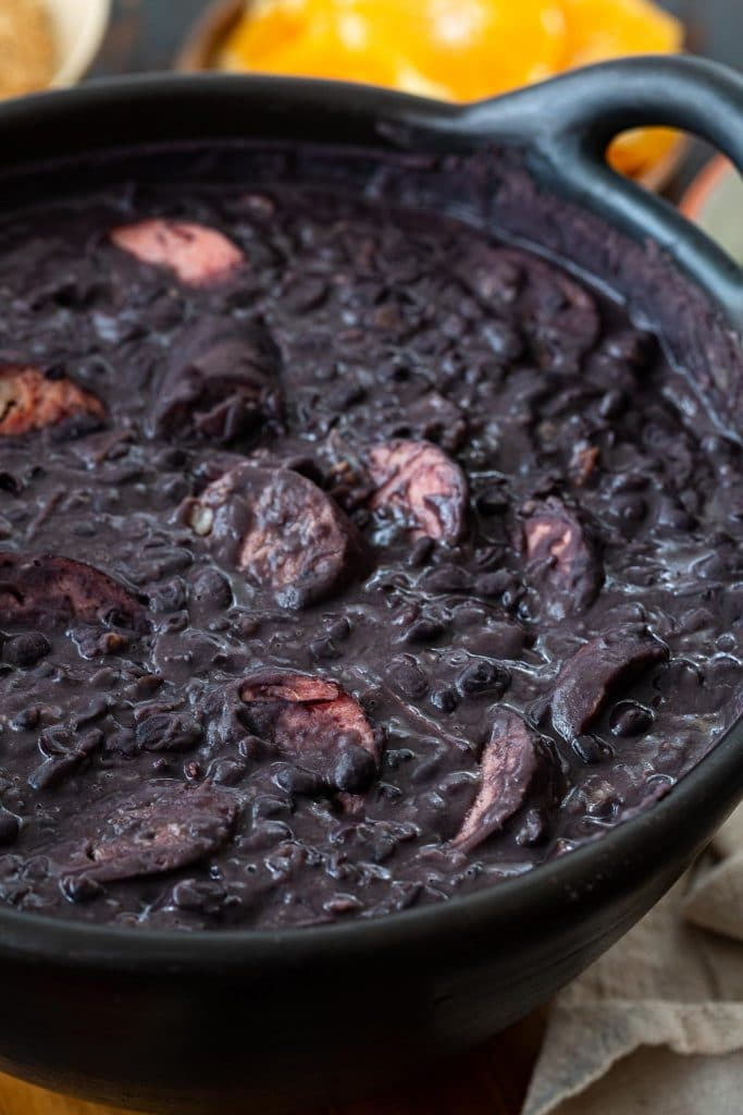 A pot of black bean and pork stew.