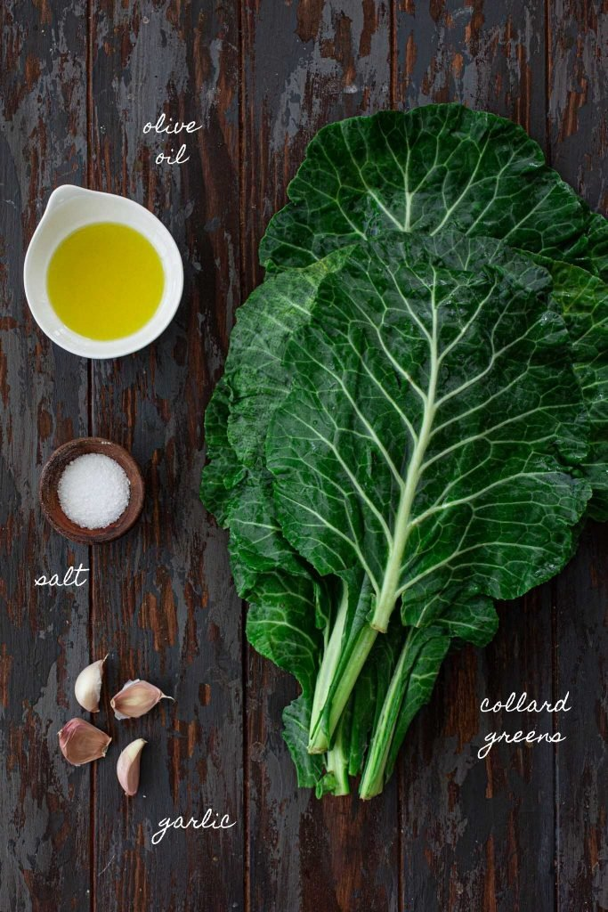 Ingredients to make Brazilian Collard Greens