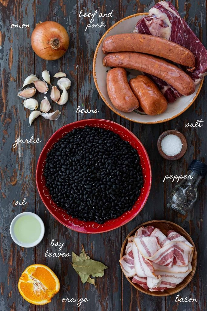 Ingredients for feijoada.
