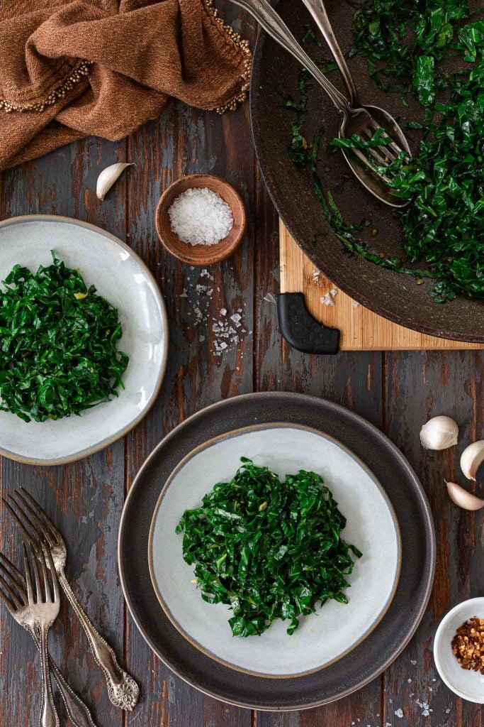 Serving garlicky greens.
