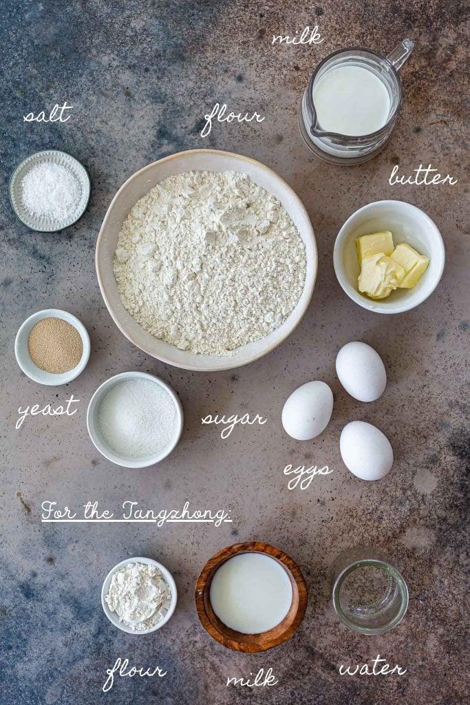 Ingredients for brioche buns recipe.
