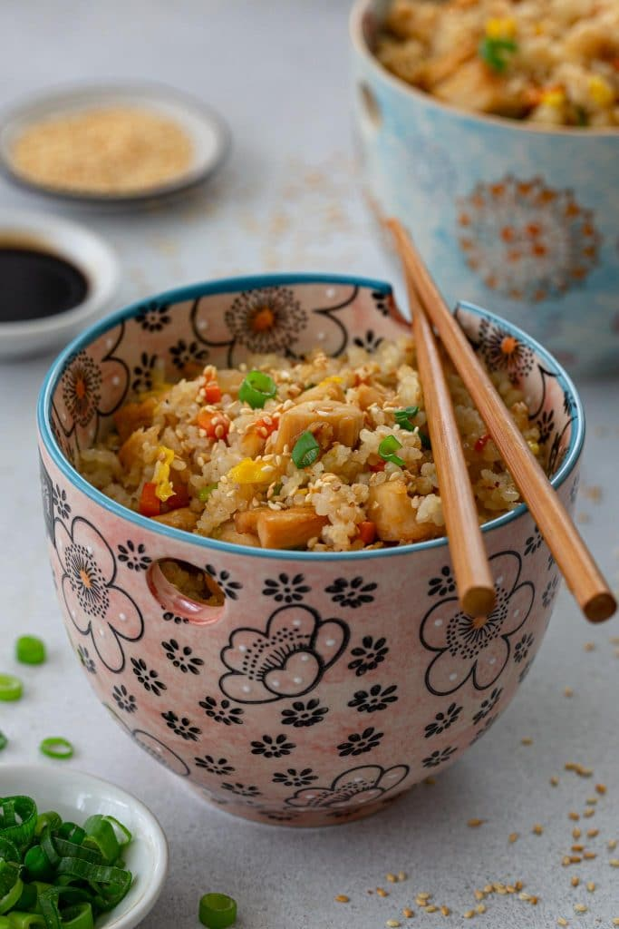 Benihana-style chicken fried rice in a bowl.