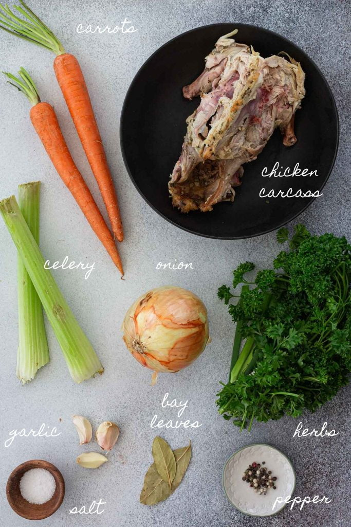 Ingredients to make homemade chicken stock recipe.