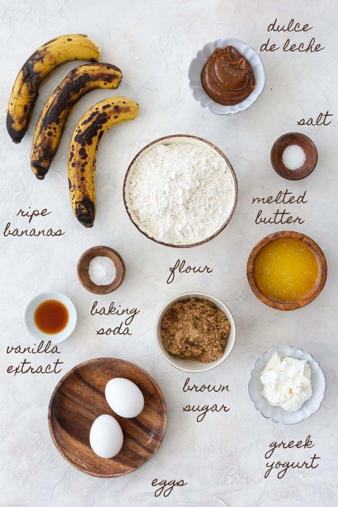 Ingredients to make Dulce de Leche banana bread recipe.