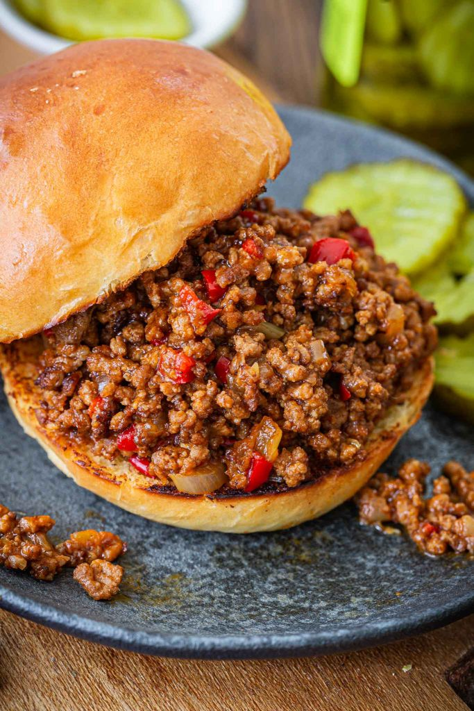 Close up of a homemade Sloppy Joe.