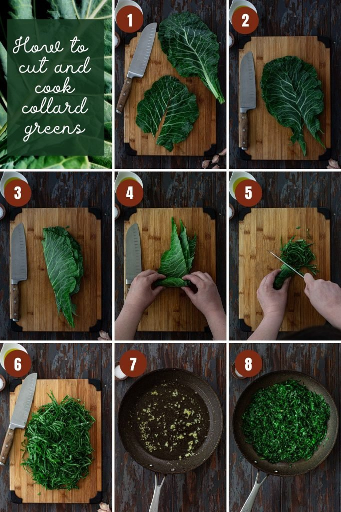 Step by step photos on how to make collard greens recipe.