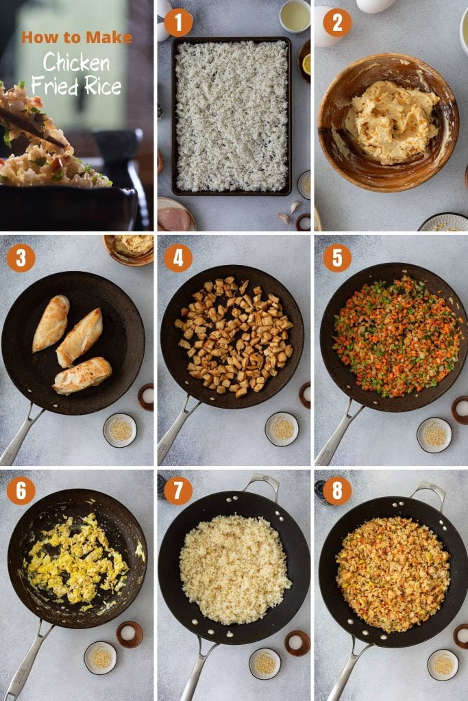 Step by step instructions to make chicken fried rice recipe.