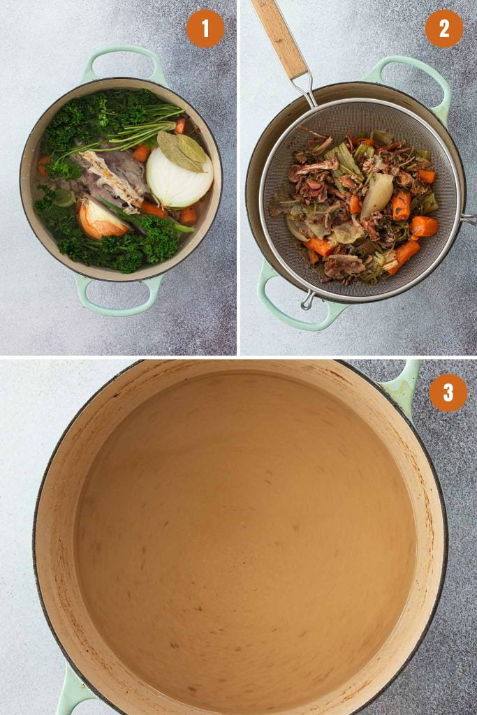 Step by step instructions for chicken stock recipe.