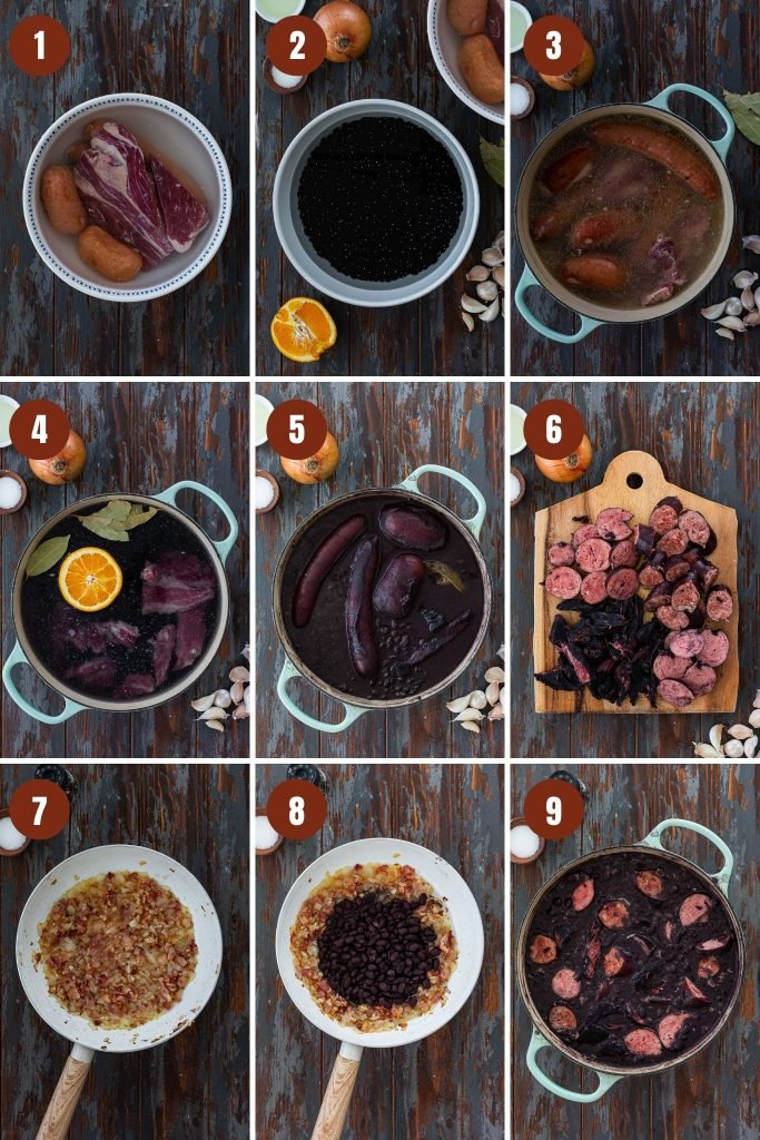 Step by step instructions on how to make feijoada.