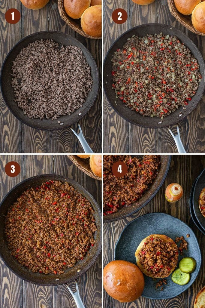 Step by step instructions to make Sloppy Joes.