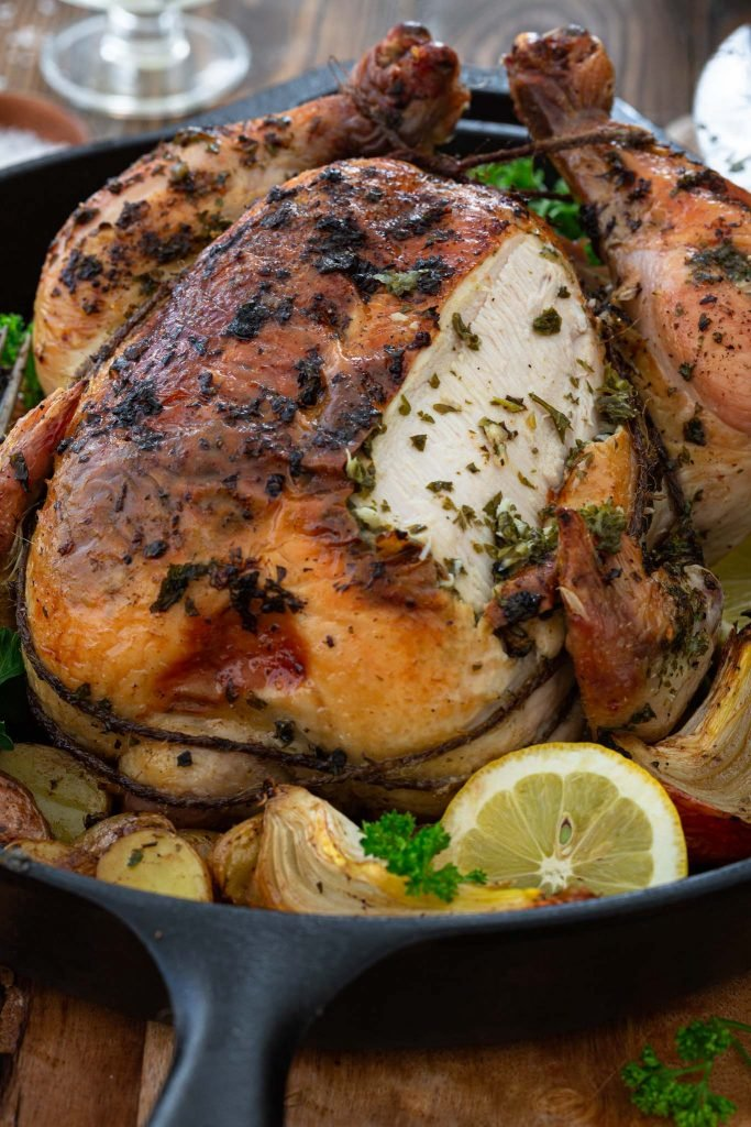 Juicy roasted chicken with herbs.